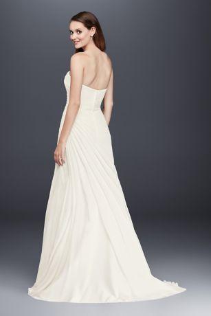 c8775e88b218 Crinkle Chiffon Wedding Dress with Draping   David's Bridal