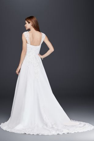 768034ed315ed A line Chiffon Split Front Overlay Wedding Dress | David's Bridal