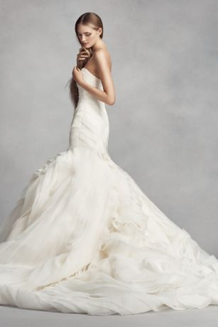 White by vera wang bias tier trumpet wedding dress davids bridal wedding dress white by vera wang mouse over to zoom junglespirit Images