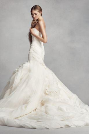 4229d51fe779 White by Vera Wang Bias-Tier Trumpet Wedding Dress | David's Bridal