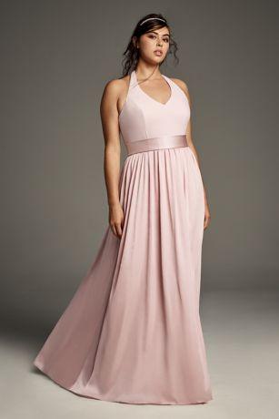 515e48001d1a3 V Neck Halter Gown with Sash | David's Bridal