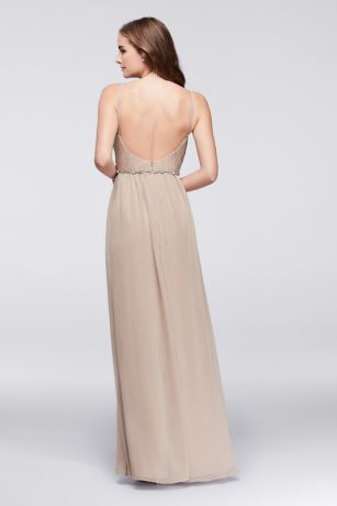 Twist Bodice Chiffon Dress with Beaded Belt   David\'s Bridal