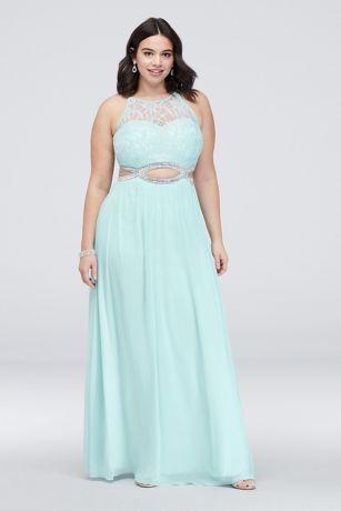 3cc32f7af1 Crystal Cutouts and Lace High-Neck Plus Size Dress   David's Bridal