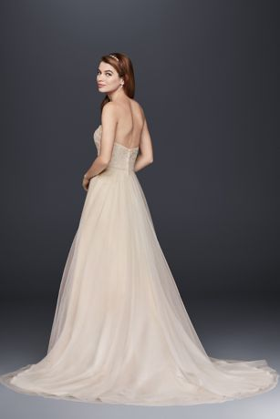 6ac927a73d88d Strapless A-Line Beaded Lace Tulle Wedding Dress | David's Bridal