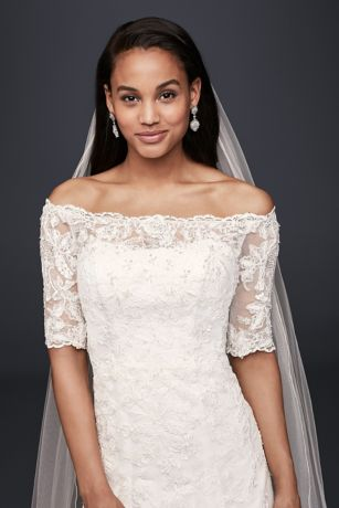 Jewel Off The Shoulder 3 4 Sleeve Wedding Dress David S Bridal