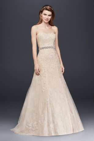 Jewel Lace A Line Wedding Dress With Beading David S Bridal