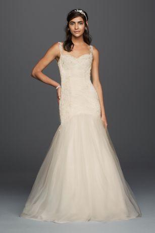 Tulle Trumpet with Illusion Back Wedding Dress   David\'s Bridal
