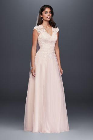 Genoeg Tulle-Over-Lace V-Neck A-Line Wedding Dress | David's Bridal @YN84