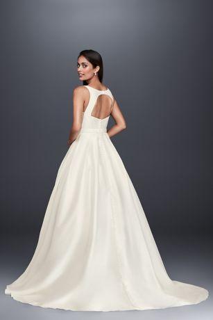 37487bb8ce2 High-Neck Mikado Petite Ball Gown Wedding Dress