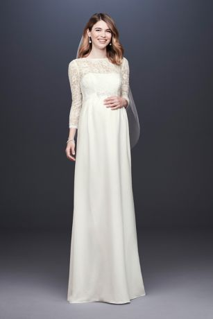3 4 Sleeve Crepe Maternity Sheath Wedding Dress David S Bridal