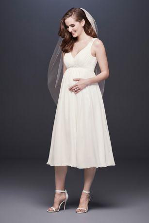 5ff8d6e083be2 Chiffon V-Neck Tea-Length Maternity Wedding Dress | David's Bridal