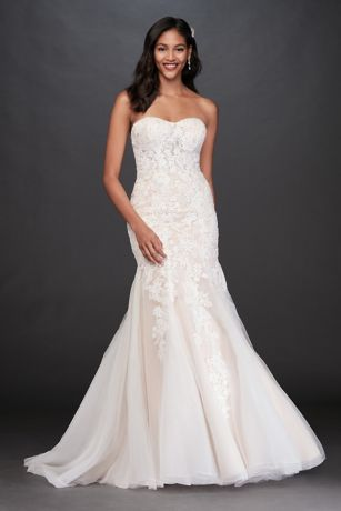 7edafe000877 Floral Beaded Lace and Tulle Mermaid Wedding Dress | David's Bridal