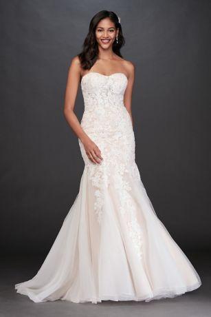 Beaded Fl Lace Mermaid Pee Wedding Dress David S Bridal