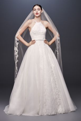 Halter-Tie Tulle Ball Gown Wedding Dress with Lace | David\'s Bridal
