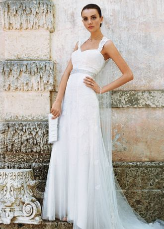 Cap-Sleeve Slim Gown with Keyhole Back | David\'s Bridal