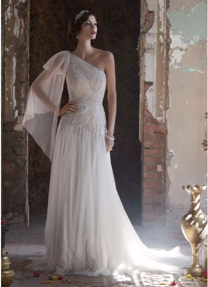Ivory (One Shoulder Gown with Handkerchief Hemline)