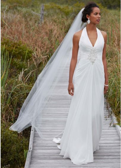 Chiffon Halter Wedding Gown With Beaded Embroidery David S Bridal
