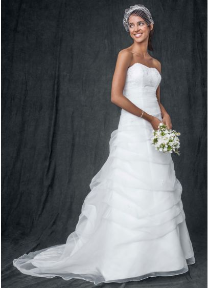 As Is Organza Draped Beaded Lace Wedding Dress
