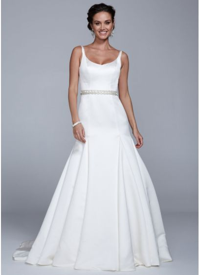Satin Trumpet Wedding Dress With Pleated Skirt Mb3652 Save