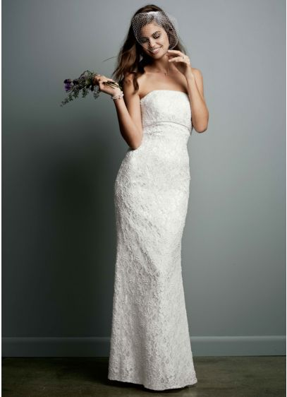 Allover Beaded Lace Sheath Gown with Empire Waist. - Allover beaded lace gown with empire waist. Sweep