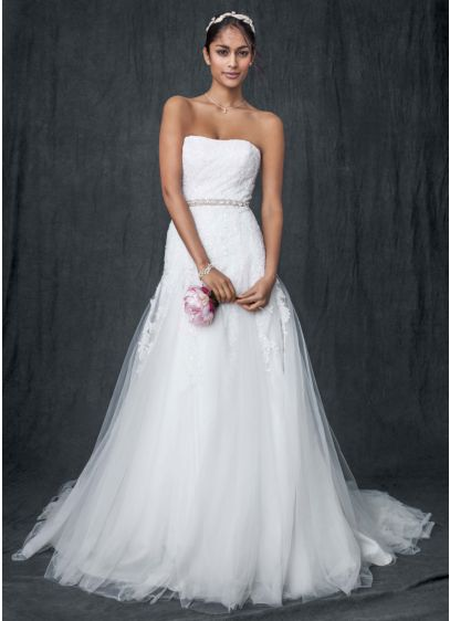 Strapless Tulle A-line Gown with Beaded Appliques - Featuring exquisite beaded chantilly lace appliques, this utterly