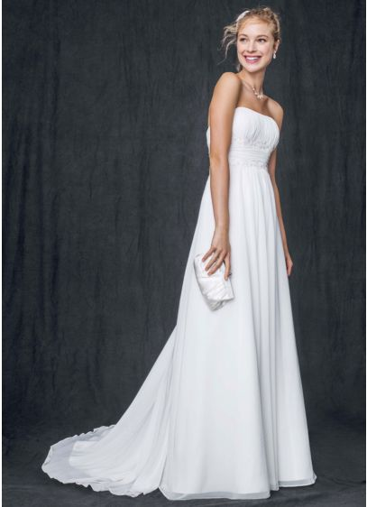 Chiffon Soft Gown with Beaded Lace on Empire Waist | David\'s Bridal