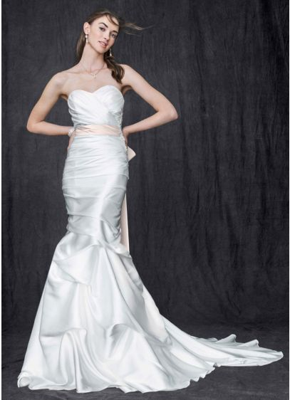 Sweetheart Charmeuse Gown with Pick-Up Skirt - This shapely charmeuse trumpet gown blends intricate details