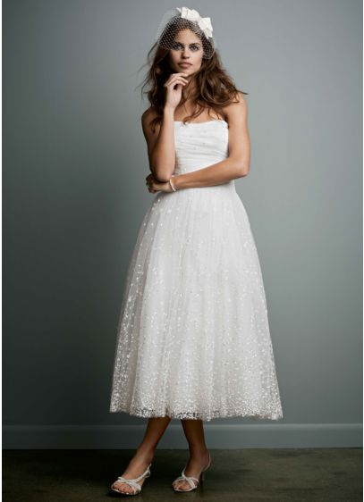 Galina Ivory (Embroidered Tea Length Gown with Ruched Waist)
