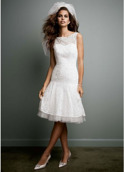 All Over Lace Short Dress with Illusion Neckline - Classically elegant with a modern twist, this short