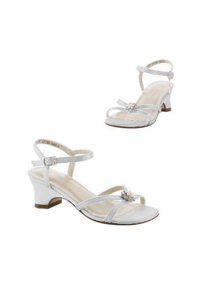 David's Bridal White (Dyeable Flower Girl Sandals with Pearl Ornament)