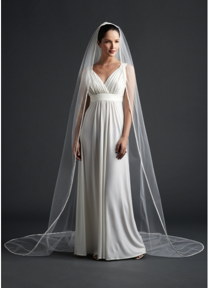 Cathedral Length Veil With Ribbon Edge - Wedding Accessories