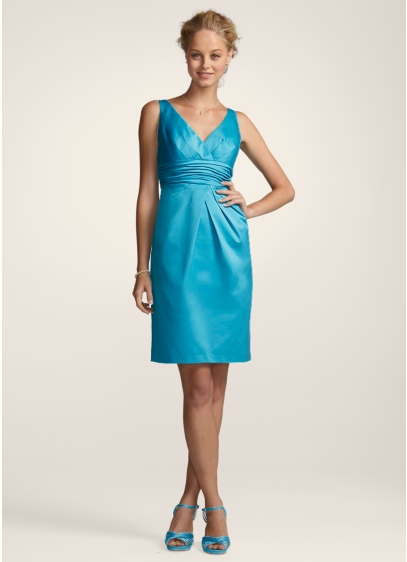 David's Bridal Yellow (V-Neck Cotton Sateen Dress with Pleats and Ruching)