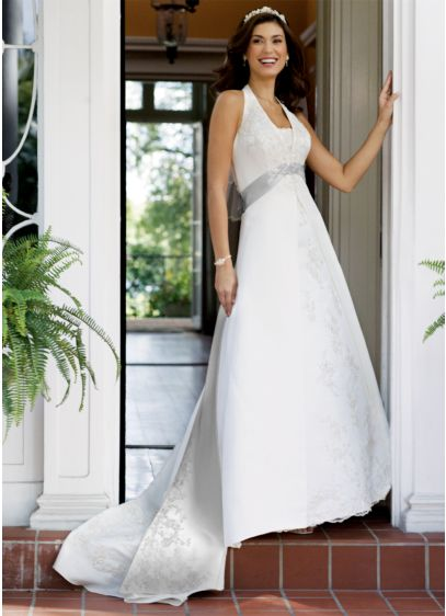 Long A-Line Halter Dress - David's Bridal Collection