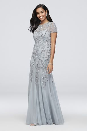 Long Mermaid/ Trumpet Cap Sleeves Dress - Adrianna Papell