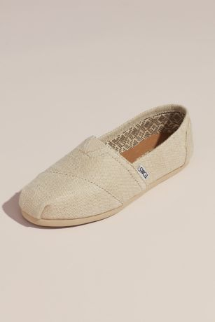 TOMS Beige Sneakers and Casual (TOMS Metallic Burlap Slip-On Shoes)