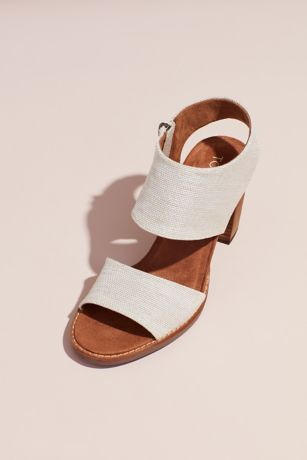 TOMS Beige Heeled Sandals (TOMS Canvas Sandals with Zipper and Block Heel)