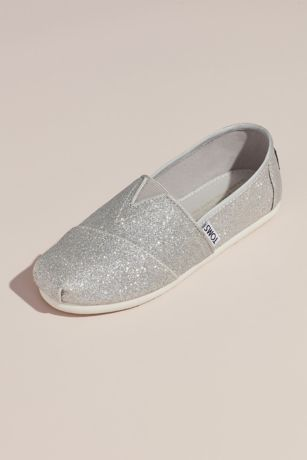 TOMS Grey Flowergirl Shoes (TOMS Girls Glitter Classic Slip-On Shoes)