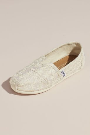 TOMS Beige Flowergirl Shoes (TOMS Embroidered Floral Slip-On Shoes)