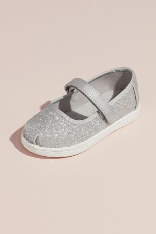 TOMS Grey Flowergirl Shoes (TOMS Girls Glitter Mary Janes)