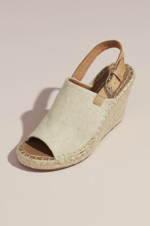 TOMS Beige Wedges (TOMS Canvas Espadrille Wedges)
