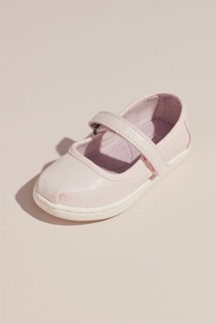 TOMS Pink Flowergirl Shoes (TOMS Girls Pearlized Mary Janes)