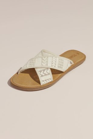 1e7723ea5 TOMS Ivory Sandals (TOMS Embroidered Arrow Crisscross Slip-On Sandals)