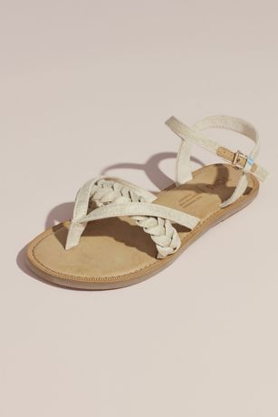 TOMS Beige Flat Sandals (TOMS Braided Metallic Strappy Flat Sandals)