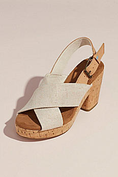 TOMS Crisscross Strap Cork Block Heel Sandals 10013586
