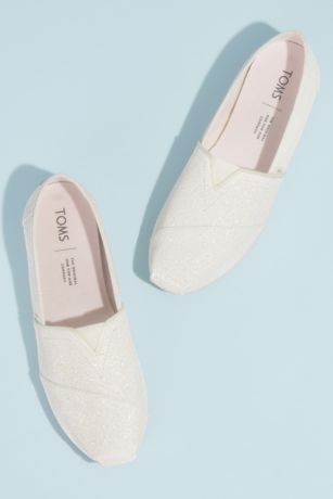 TOMS Ivory Sneakers and Casual (TOMS Canvas Glitter Wrap Classic Slip-On Shoes)
