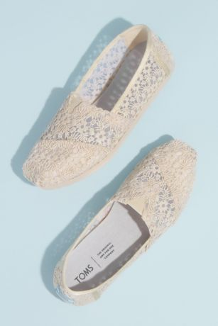 TOMS Beige Sneakers and Casual (TOMS Illusion Floral Crochet Classic Slip-On Shoes)