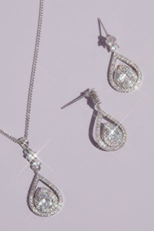 Pave Crystal Teardrop Earrings and Necklace Set