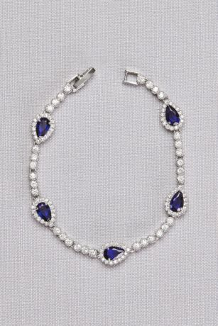 Pear Sapphire Cubic Zirconia Bracelet