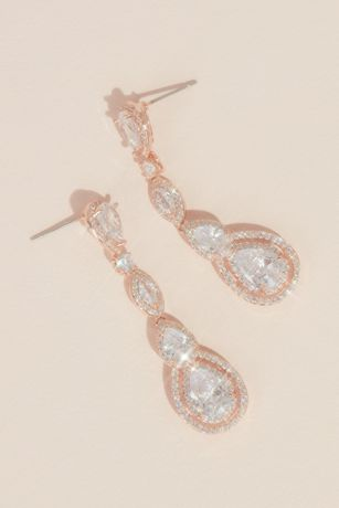 Haloed Teardrop-Cut Cubic Zirconia Drop Earrings