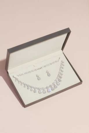 Dangling Pear Crystal Necklace and Earrings Set